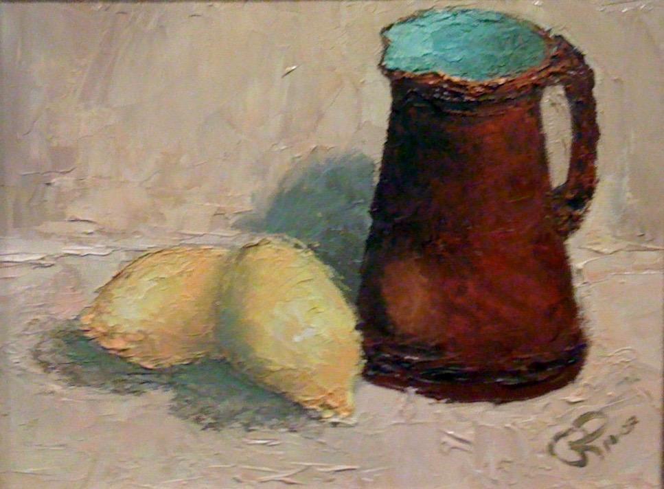 Two Lemons (Palette Knife Painting)
